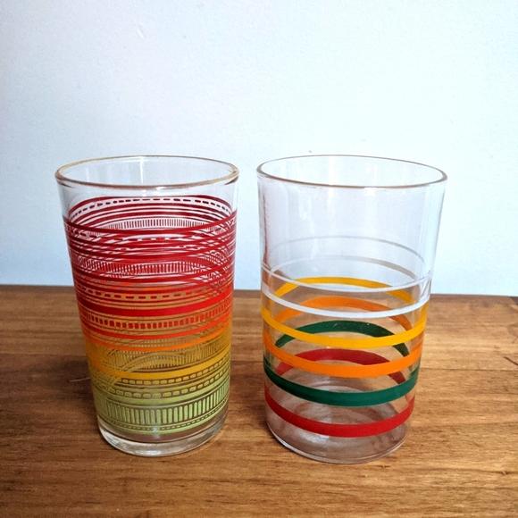 Vintage MCM Striped Juice Glasses